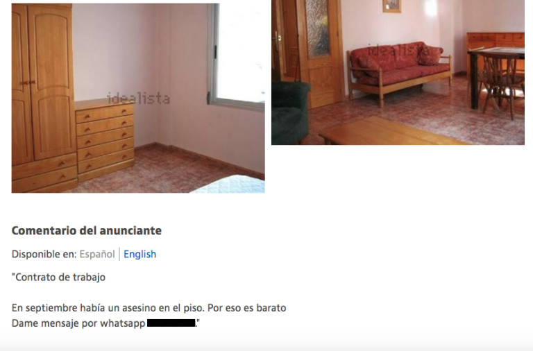 Se alquila piso barato raz n antes viv a un asesino for Amueblar piso barato valencia