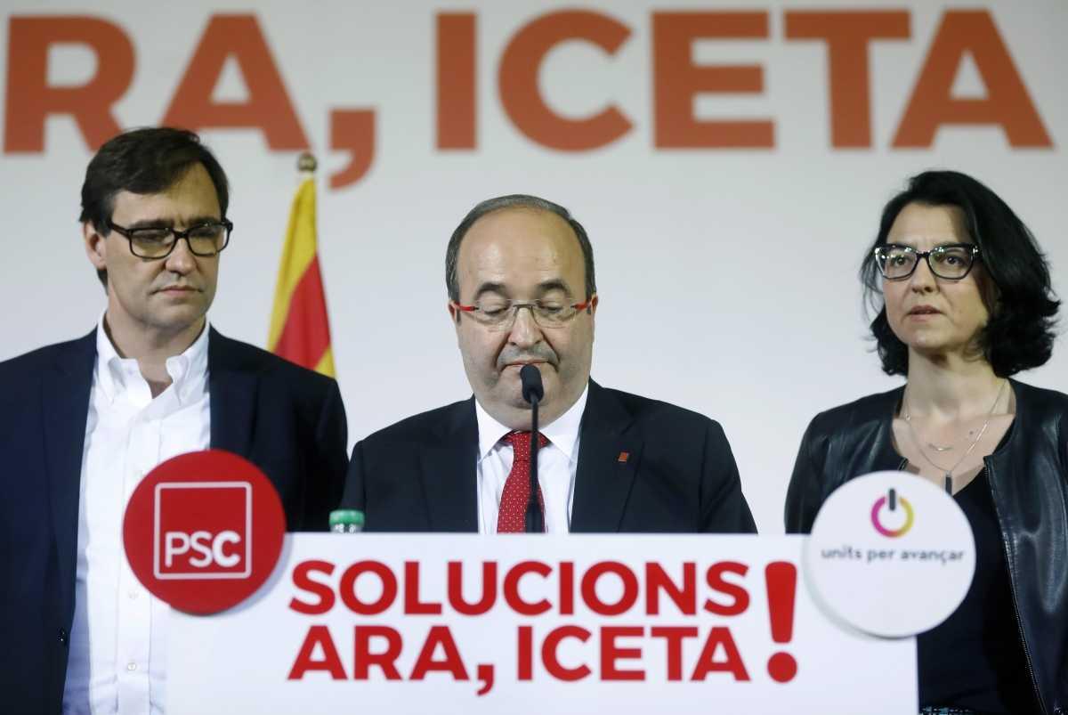 El socialista Miquel Iceta con gesto serio en su comparecencia tras el escrutinio. Foto: EFE