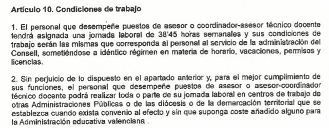 Artículo 10 del Decreto sobre personal asesor técnico docente. VP