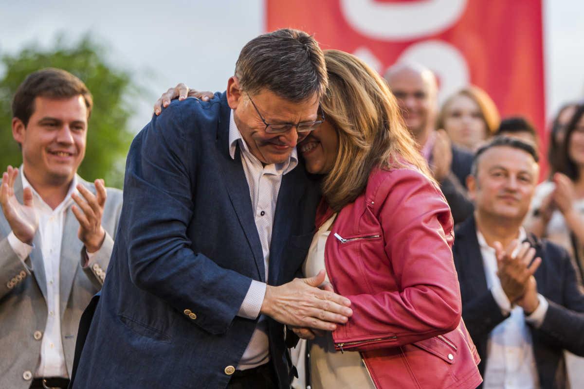 Puig y Díaz en el mitin del pasado jueves en Valencia. Foto: EVA MÁÑEZ