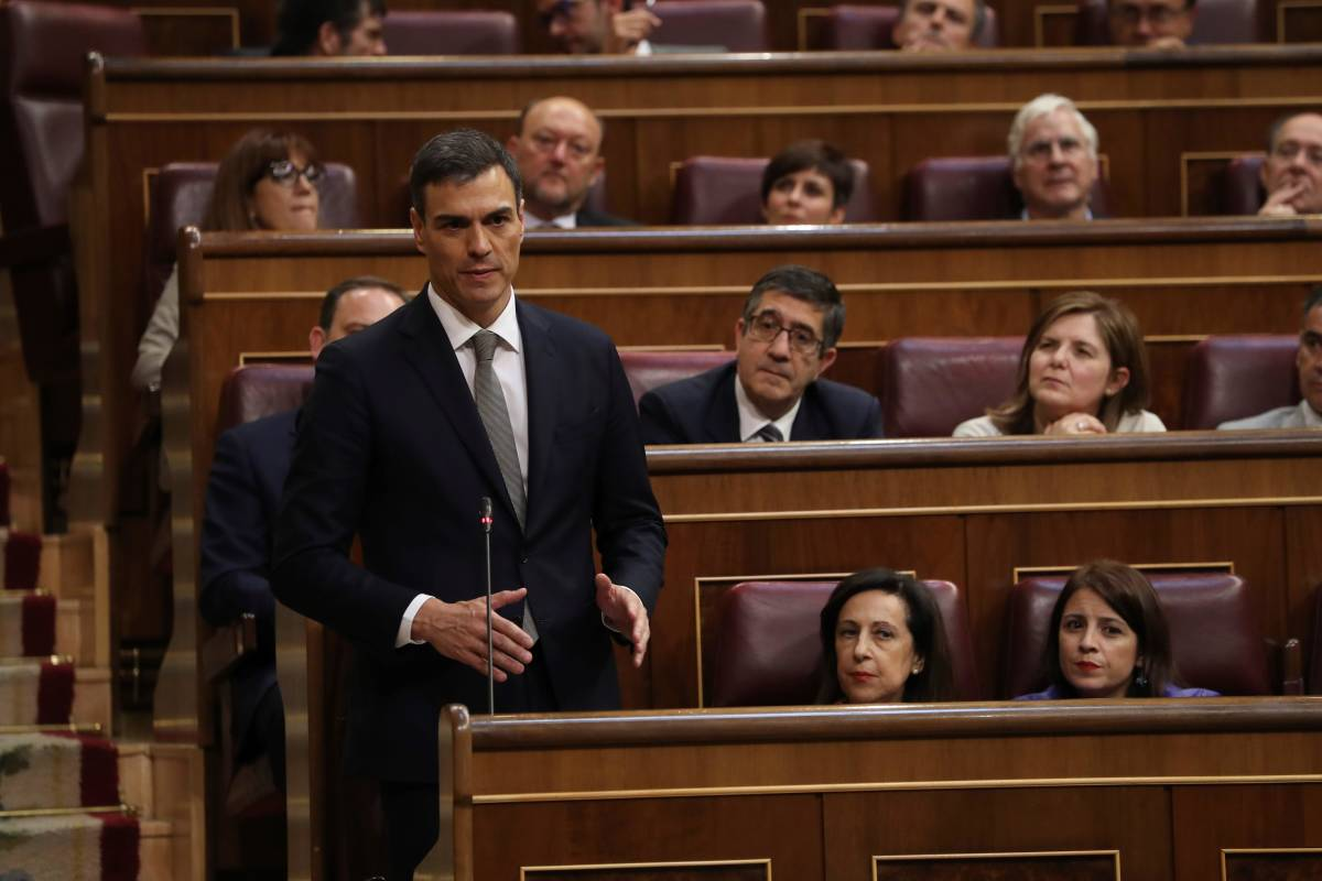 Pedro Sánchez, en una de sus intervenciones durante la jornada. Foto: EFE