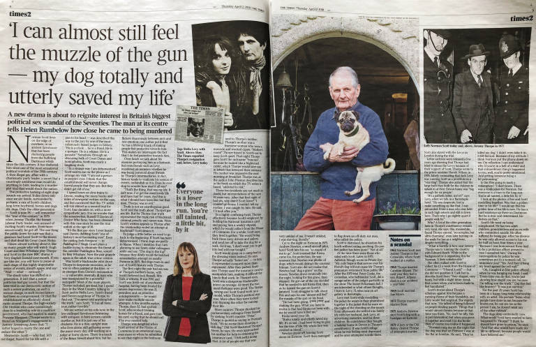 Doble página en The Times sobre el escándalo de Jeremy Thorpe y Norman Scott