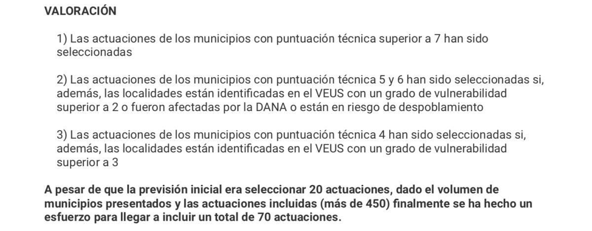 Criterios que la Conselleria expuso que habían servido para elegir los proyectos. Foto: GVA