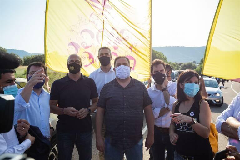 Oriol Junqueras y otros presos independentistas condenados por el Tribunal Supremo. Foto: PAU VENTEO/EP