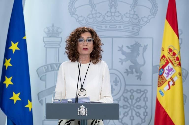La portavoz del Gobierno, María Jesús Montero, durante su comparecencia. Foto: Pool