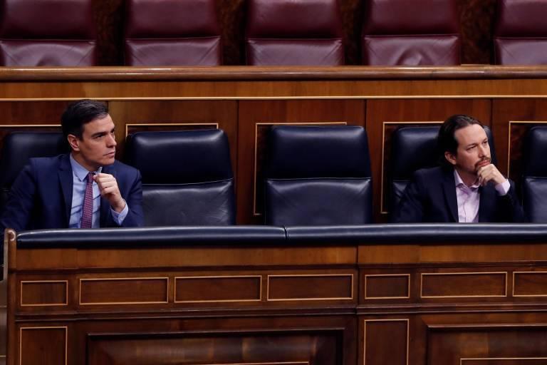 Pedro Sánchez y Pablo Iglesias, en el Congreso de los Diputados. Foto: Pool