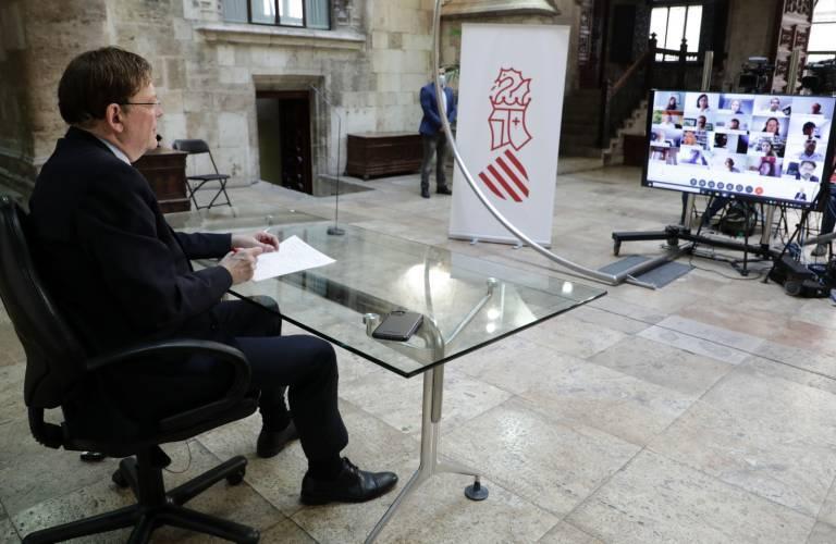 Puig, en la reunión telemática con los patronos de Ellis. Foto: GVA