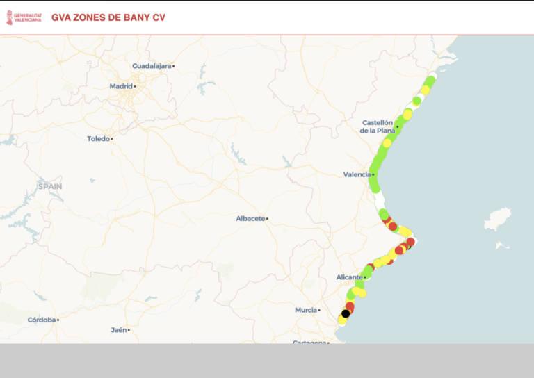 Mapa Zona Azul Valencia.Zones De Bany Cv La Plataforma Valenciana De Informacion De Aforos De Playas Y Zonas De Bano En Tiempo Real Valencia Plaza