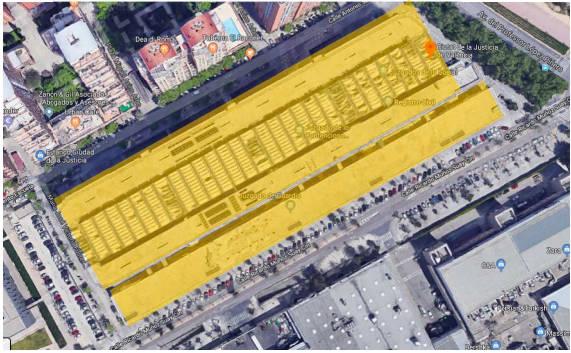 Proyecto sobre la cubierta de la Ciudad de la Justicia