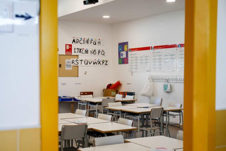 Aula de un colegio vacía. Foto: ÓSCAR J.BARROSO / EUROPA PRESS