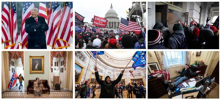 Donald Trump y varias imágenes del asalto. Fotos: EFE/EPA/VARIOUS