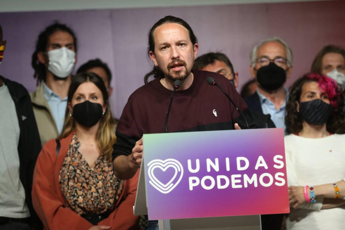 Pablo Iglesias, en el momento de anunciar su abandono de la política. Foto: I. INFANTES/POOL