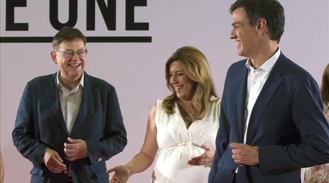 Puig, Díaz y Sánchez en una imagen de archivo. Foto: EFE