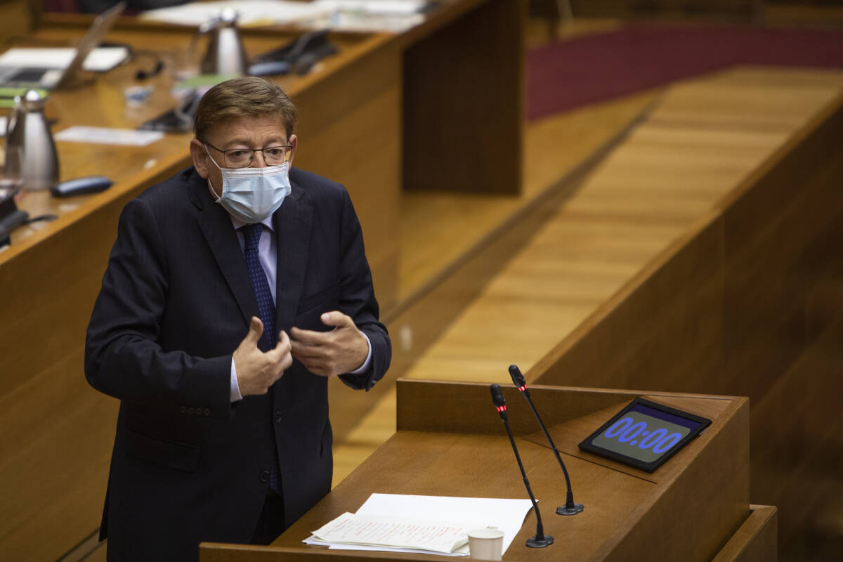 Ximo Puig, durante su discurso. Foto: EVA MÁÑEZ